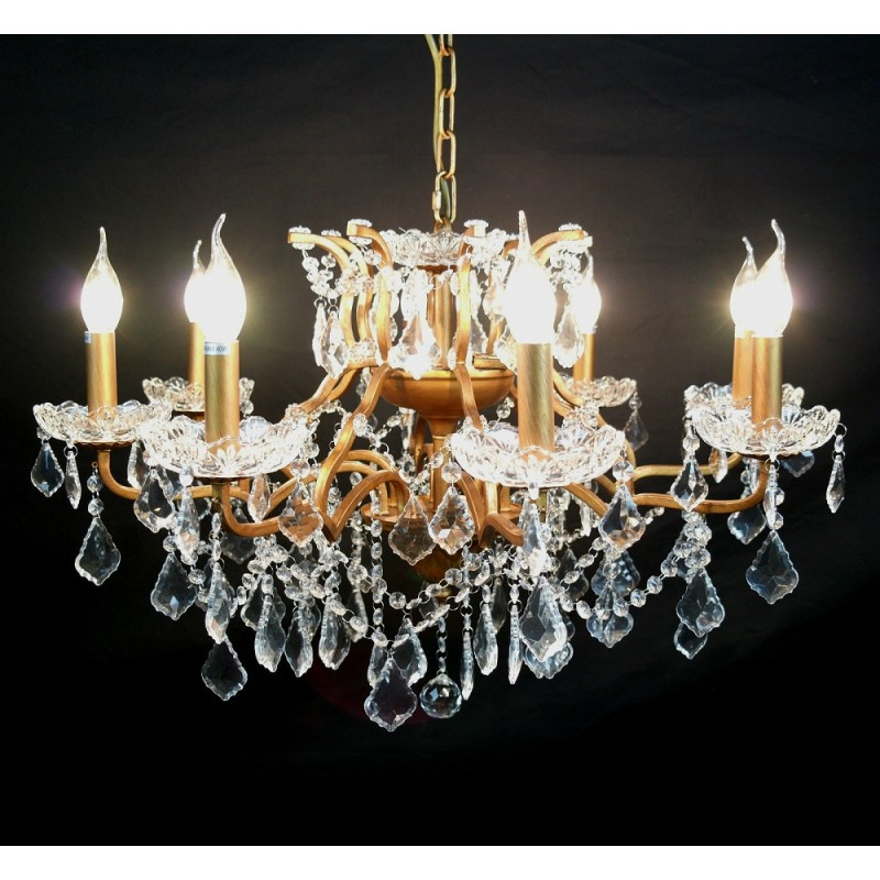 8 branch shallow cut glass chandelier gold 8 branch shallow cut glass chandelier aloadofball Choice Image